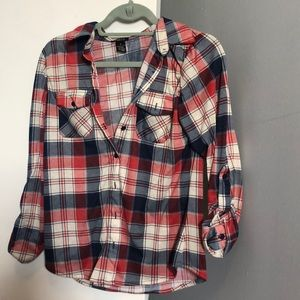 Cozy plaid button down shirt